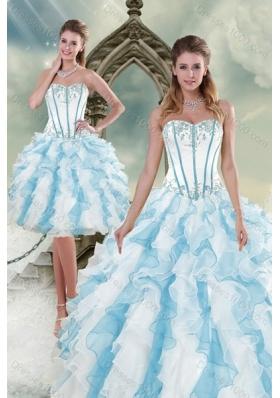 2015 Pretty Appliques and Ruffles Quince Dresses in Multi Color