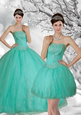 Fashionable Apple Green Strapless Quince Dress with Appliques and Beading for 2015