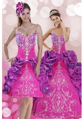 Multi Color Sweep Train 2015 Quince Dresses with Pick Ups and Embroidery