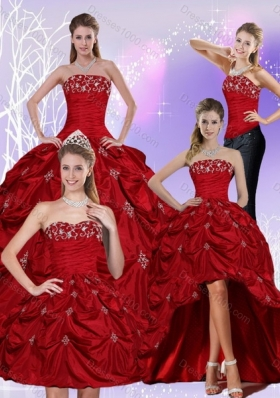 2015 Detachable Floor Length Strapless Sweet 16 Dress with Embroidery and Pick Ups