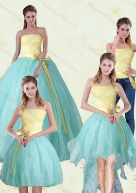 2015 Detachable Strapless Floor Length Multi Color Quinceanera Gown with Bowknot