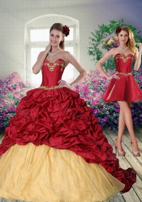 Designer 2015 Sweetheart Wine Red Brush Train Quinceanera Dress with Beading