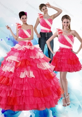 Detachable One Shoulder Ruffled Layers and Beading Multi Color Quinceanera Dresses for 2015