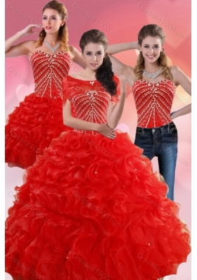 Detachable Red Quince Dresses With Beading and Ruffles for 2015