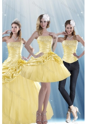 Detachable Strapless 2015 Strapless Beading Quinceanera Dresses