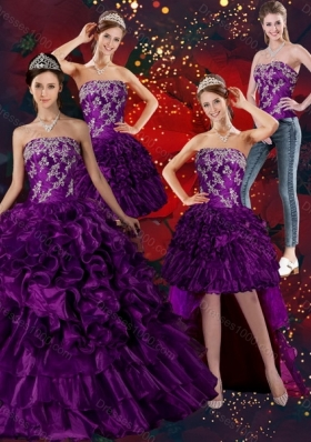 Detachable Strapless Ball Gown Quinceanera Dress with Embroidery and Ruffles