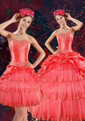Detachable Strapless Quinceanera Dresses with Beading and Pick Ups in Coral Red