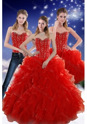 2015 Detachable Red Sweetheart Quince Dresses with Beading and Ruffles