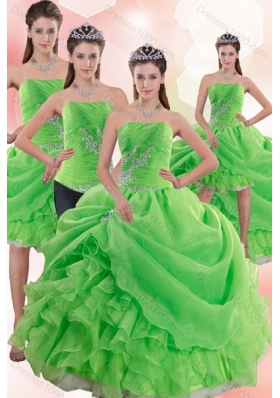 2015 Detachable Spring Green Quince Dresses with Pick Ups and Beading