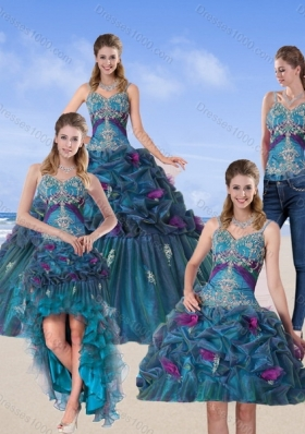 2015 Fashionable  Multi Color Quinceanera Gown with Hand Made Flower and Pick Ups