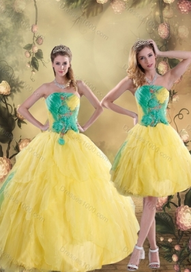 2015 Fashionable Ruching Quinceanera Dresses in Yellow and Green