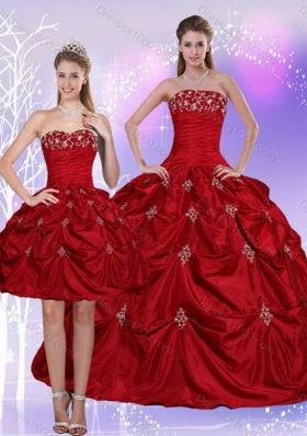 2015 Strapless Quinceanera Dress with Embroidery and Pick Ups