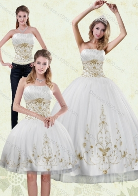 Detachable 2015 Strapless Embroidery White and Gold Quinceanera Dresses