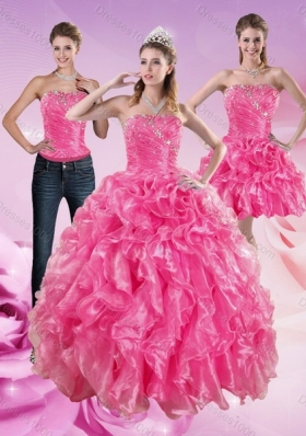 Detachable Hot Pink Sweet 16 Dresses with Beading and Ruffles