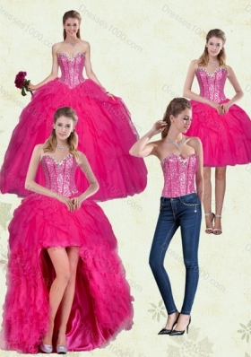 Detachable Hot Pink Sweetheart Dress for Quince with Ruffles and Beading