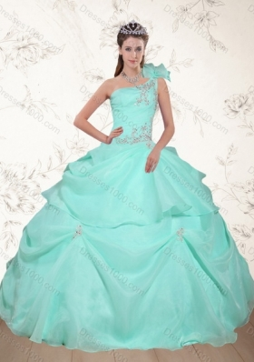 Fashionable Beading and Appliques 2015 Dress for Quince in Apple Green