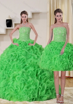 Fashionable Strapless Spring Green Quince Dress with Beading and Ruffles