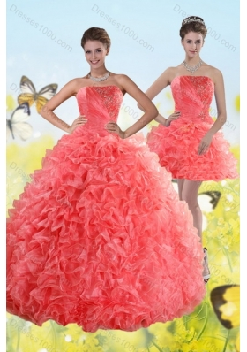Fashionable Watermelon Red Strapless 2015 Quince Dresses with Beading and Ruffles