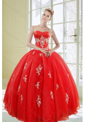 2015 Fashionable Red Quinceanera Dresses with Appliques
