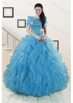 2015 Fashionable Strapless Sweet 15 Dresses with Beading and Ruffles