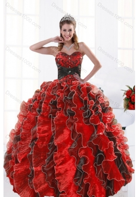 2015 Modern Multi Color Beading and Ruffles Dresses for Quince