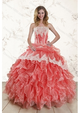 2015 Best Strapless Quince Dresses with Appliques and Ruffles
