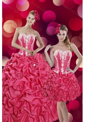 2015 Pretty Hot Pink Sweet 15 Dresses with Pick Ups and Appliques