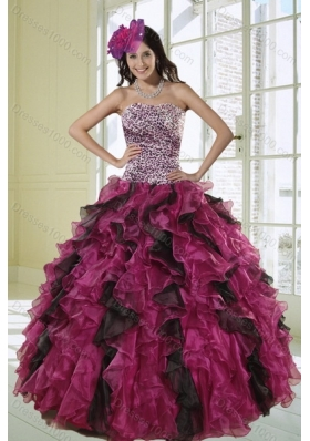 2015 Unique Multi Color Ball Gown Dress for Quinceanera with Leopard Print