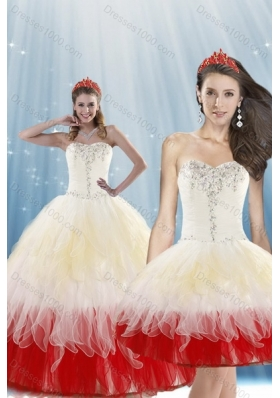 2015 Unique Multi Color Quince Dresses with Beading