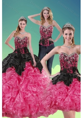 2015 Unique Multi Color Quince Dresses with Beading and Ruffles