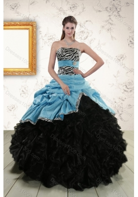 2015 Zebra Print Multi Color Strapless Quinceanera Dresses with Ruffles and Pick Ups