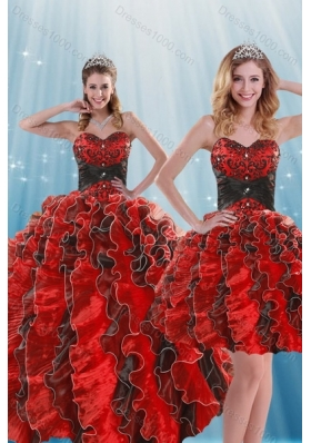 Beautiful Multi Color Beading and Ruffles Quince Dresses for 2015