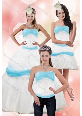 Elegant Multi Color Strapless Ball Gown Quinceanera Dress with Appliques for 2015