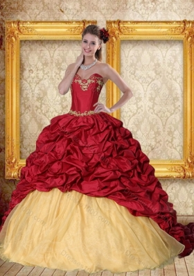 Fashionable 2015 Wine Red Brush Train Quinceanera Dress with Sweetheart