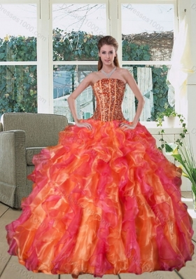 Multi Color Strapless Quince Dress with Beading and Ruffles