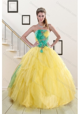 Popular 2015 Strapless Multi Color Sweet 15 Dresses with Ruching
