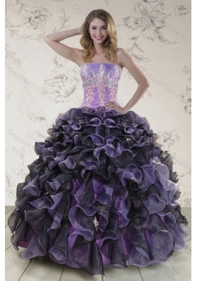 Pretty Multi Color 2015 Sweet 16 Dresses with Appliques and Ruffles