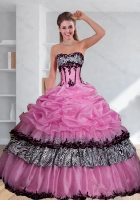 Zebra Printed Multi Color Strapless Quinceanera Dress with Pick Ups and Embroidery