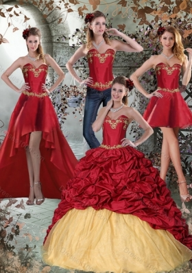 2015 Multi Color Sweetheart Quinceanera Dresses with Embroidery and Pick Ups