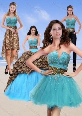 2015 Unique Leopard Print Multi Color Quinceanera Dresses with Brush Train and Beading