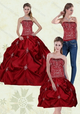 New Style Detachable Wine Red Strapless Quinceanera Gown with Embroidery