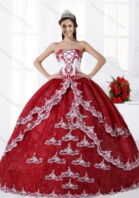 New Style Multi Color Strapless Quinceanera Dress with Embroidery