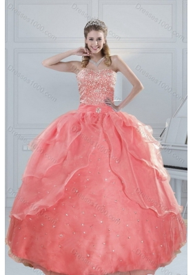 2015 New Style Fabulous Watermelon Quinceanera Dresses with Beading