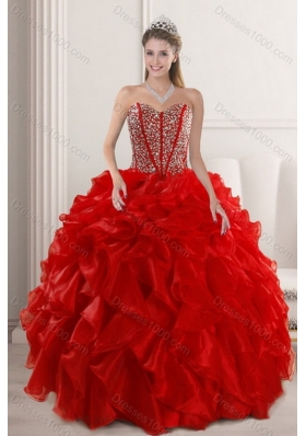 2015 New Style Fashionable Red Quinceanera Dresses with Beading and Ruffles