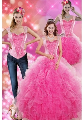 New Style Decent Hot Pink 2015 Quinceanera Gown with Beading and Ruffles