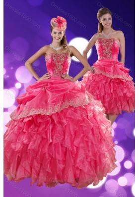 The New Style Hot Strapless Quince Dresses with Ruffles and Appliques