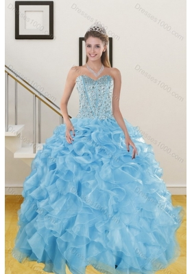 The New Style Ruffles and Beading Baby Blue Quince Dresses for 2015