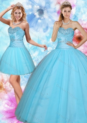 2015 Discount Sweetheart Beaded Sweet Sixteen Dress in Baby Blue