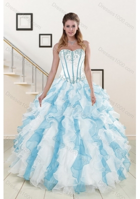 2015 Pretty Appliques and Ruffles Sweet Sixteen Dresses in Multi Color