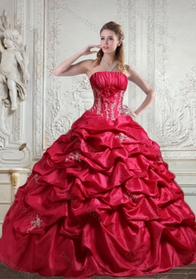 2015 Unique Appliques and Pick Ups Red Sweet 16 Dress